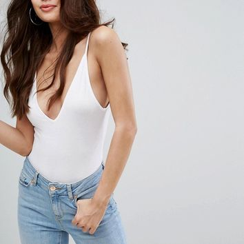 Boohoo V Neck Strappy Body at asos.com