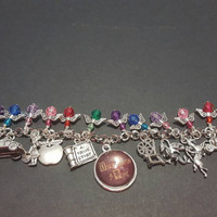 Once upon a time themed tibetan silver charm bracelet