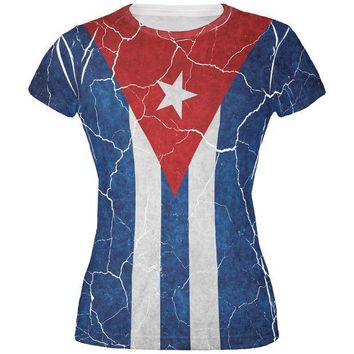 PEAPGQ9 Distressed Cuban Flag All Over Juniors T Shirt