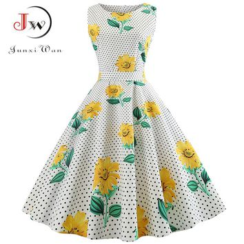 Summer Dress Women Vestidos robe Floral Print Elegant Vintage Pin up Dresses Casual Midi Work Office Party Sundress Plus Size