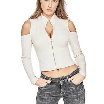 Asa Zip-Up Top at Guess