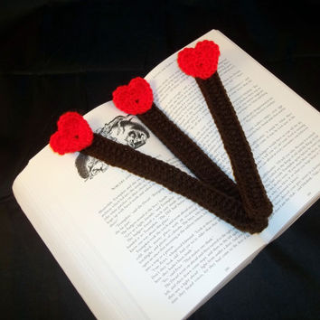 Red & Brown Crocheted Bookmarks - Set of 3