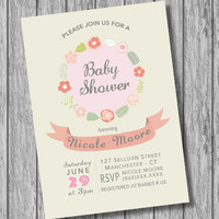 Baby Shower Girl Invitation, Baby Girl, Pink Beige Flowers, Personalized BabyShower, Pastel Colors (PRINTABLE File, Download, Custom Order)