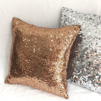 Sparkly Copper Sequins Embellished Pillow Cover. 16inch Bling Cushion