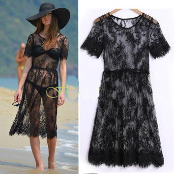 Sexy  Boho Beach Black Short Sleeve Lace Floral Sheer Beach Cover Up 2016 Summer Elegant Design Knee-length Dress Vestidos