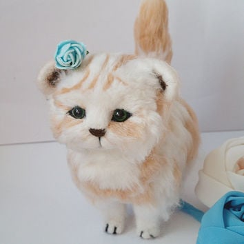 felt toy, Felted cat, Needle felted animal, felt wool cat, cat sculpture, Kawaii cat kitten, Art Dolls