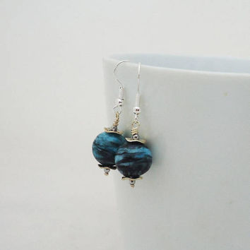 Chrysocolla Earrings, Gemstone Earrings, Blue Gemstone Earrings, Earrings in Blue