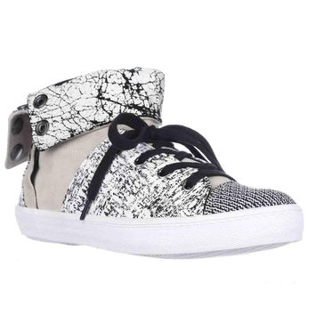 Rebecca Minkoff Spencer Foldover Sneakers, Creme/Black, 9.5 US