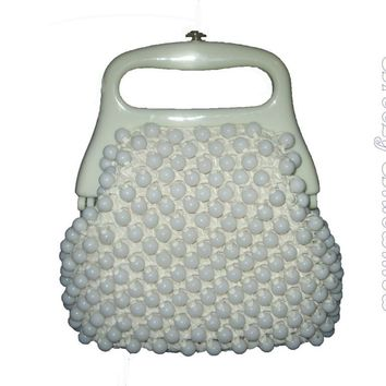 Vintage Marcus Brothers Made in Italy White Beaded Raffia Handbag Purse