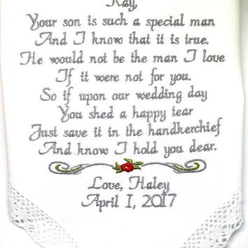 Wedding Handkerchief Personalized Future Mother In Law of the Bride Groom Custom Embroidered Hankie Handkerchief By Canyon Embroidery