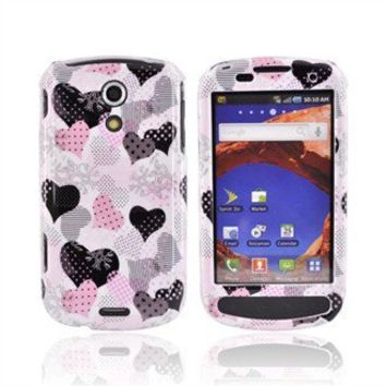 Samsung Epic 4G Hard Case Pink/Black Hearts on White