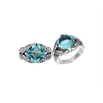"""AR-6233-BT-10"""" Sterling Silver Ring With Blue Topaz"""