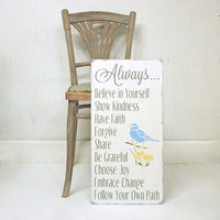 Family Rules Wood Sign. Inspirational House Rules. Blue Bird