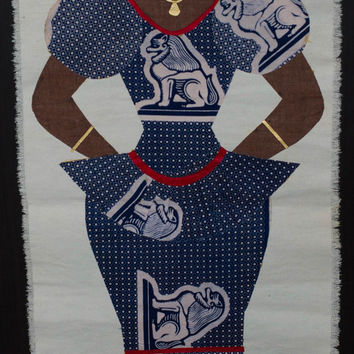 African Fabric Woman Ethnic Wall Hanging, African Décor, African Wall Décor,