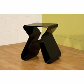 Acrylic Black End Table with Magazine Rack By Baxton Studio