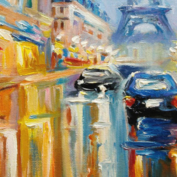 Rainy Day in Paris Eiffel Tower Cityscape Scene Original Oil Painting on Canvas Home Decor Art