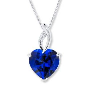 Lab-Created Sapphires Blue & White Sterling Silver Necklace