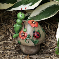 Buggy Mushroon Garden Decoration With Orange Poppies and Ladybug