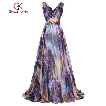 Grace Karin Celebrity Long Ombre Prom Dress 2017 Real Photo Gradient Party Evening Gowns Deep V New Arrival Bridesmaid Dresses