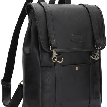 Black Buckle PU Backpacks | MakeMeChic.COM