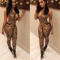OHVERA Casual 2017 New Style Solid Color Romper Playsuit Deep V-Neck Sleeveless Gold Rompers Womens Jumpsuit Bandage Clothing