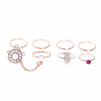 7PCS /Set Wedding Ring Simple Pink Purple Crystal Opal Leaf Charm Chain Ring For Women