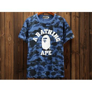 BAPE men and women couples with half-sleeve camouflage printed short-sleeved T-shirt F-A-KSFZ blue