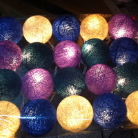 20 purple shaded color home decoration string light party hanging light cotton ball display show living room