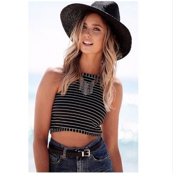 Ladies Black Striped Ribbed Knit Halter Neck Crop Woman Summer Style Vest Top Sleeveless Casual Tank Tops  Top