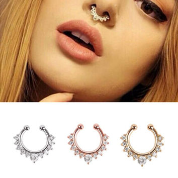 2017 Ear Plugs Belly Button Rings Crystal Clicker Fake Septum Piercing Helix Nose piercing Hoop Clip Ring Body Jewelry Gift Top