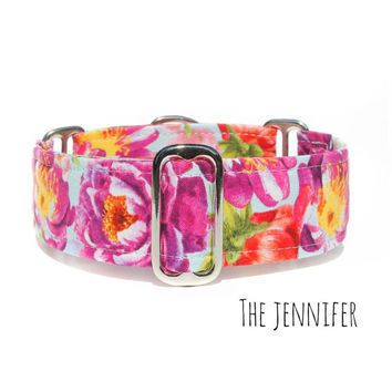 "Wide Dog Collar, Female Flowers Collar, 2 Inch, 1.5 Inch or 1"" Martingale, Buckle (Clip) or Tag/ID Collar, Italian Greyhound - Great Dane..."