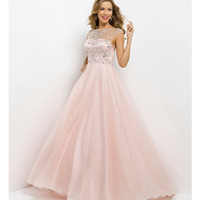 Pink by Blush 2014 Prom Dresses - Crystal Pink Sheer Open Back Prom Gown