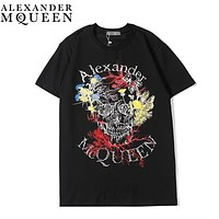 Alexander McQueen Summer New Fashion Floral Letter Print Women Men Top T-Shirt Black