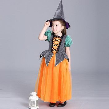 Halloween Festival New Toddler Girls Show Stage Performance Princess Pumpkin Cosplay Party Lovely Short Sleeve Costume Dress