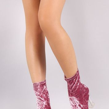 Crushed Velvet Clear Block Heel Ankle Boots