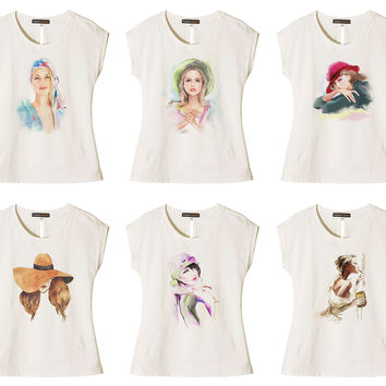 Women Potrait painting Printed Cotton Short Sleeves T- Shirt WTS_02