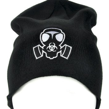 Gas Mask Bio Hazard Sign Beanie Cyber Goth Clothing Knit Cap