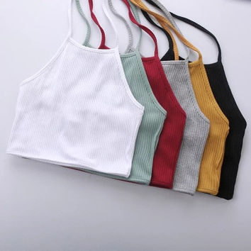 Backless Halter Neck Sexy Spagehetti Strap Solid Elastic Stretch Top Women Tank Vest _ 9590