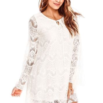 IVORY LONG SLEEVE LACE PARTY CLASSY DRESS