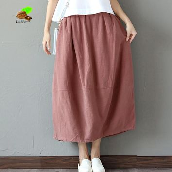 2017 spring & autumn new elegant loose art cotton & linen long Bud skirt women solid color retro Cothing Casual clothes