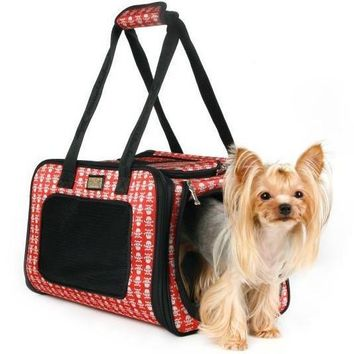 Skull comfortable portable pet cage breathable folded dog carriers pet totes for small animal