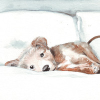 Original watercolor painting puppy dog art white bed linen pet on bed
