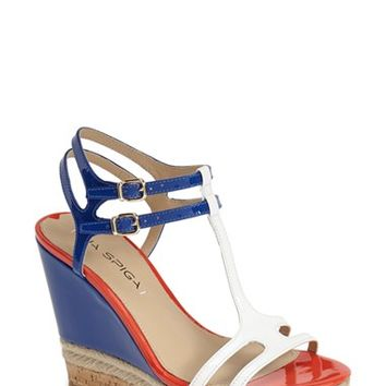 "Women's Via Spiga 'Meza' Leather Dual Ankle Strap Platform Wedge (Nordstrom Exclusive), 4 1/2"" heel"