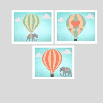 Elephants printable nursery art, instant download, hot air balloons nursery art, elephant nursery decor