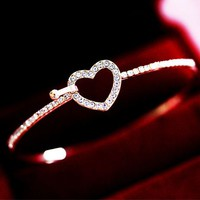 Heart and Rhinestone Front Hook Bangle