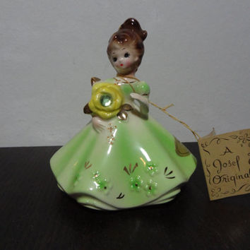 Vintage Josef August Birthday Figurine - Little Girl with Flower and Peridot Rhinestone - with Original Tags