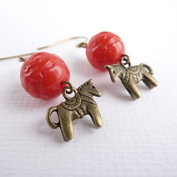 Dala Horse Earrings Horse Charms Red Beads by KittyBallistic