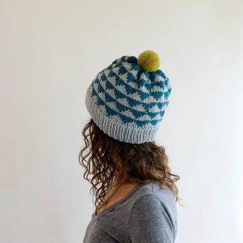 Knit Hat Pom Pom Ski Hat w/ Geometric Triangles - Steel Blue, Gray, & Chartreuse