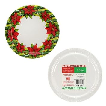 "Poinsettia Wreath - 7"" Paper Plates - 36-Packs - 36 Units"