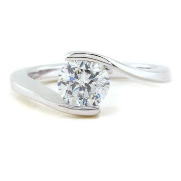 Bypass Solitaire Moissanite Engagement Ring - Solitaire Swirl